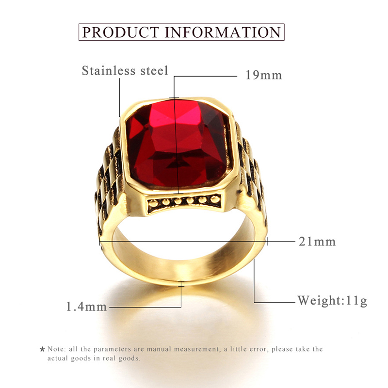 product-Personalized Retro Inlaid Red Gem Trend Jewelry Stainless Steel Ring-BEYALY-img