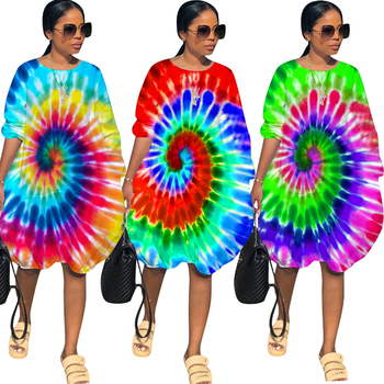 H1265 Wholesale large - size long - sleeved tie - dye printing casual women's T-shirt dress