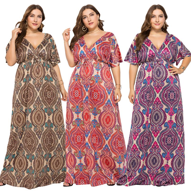 2019 nieuwe sexy diepe v-hals etnische print oversize lange jurk