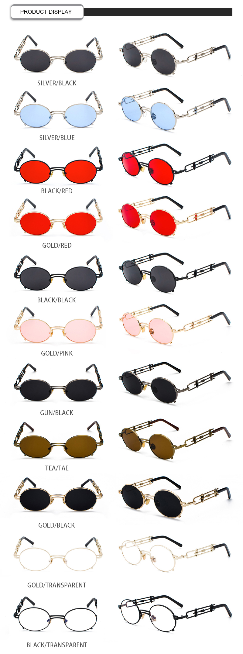 Customized Logo Lentes De Sol Hollow Out Metal Frame Oval Men Women Sunglasses