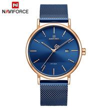 NAVIFORCE мужские часы, модные повседневные часы, пара, нержавеющая сталь, сетка, водонепроницаемые кварцевые женские наручные часы, женские час...(China)