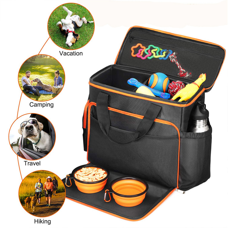 5pcs dogs travel bag custom cats pet travel bag for dogs,cats,with silicone bowls