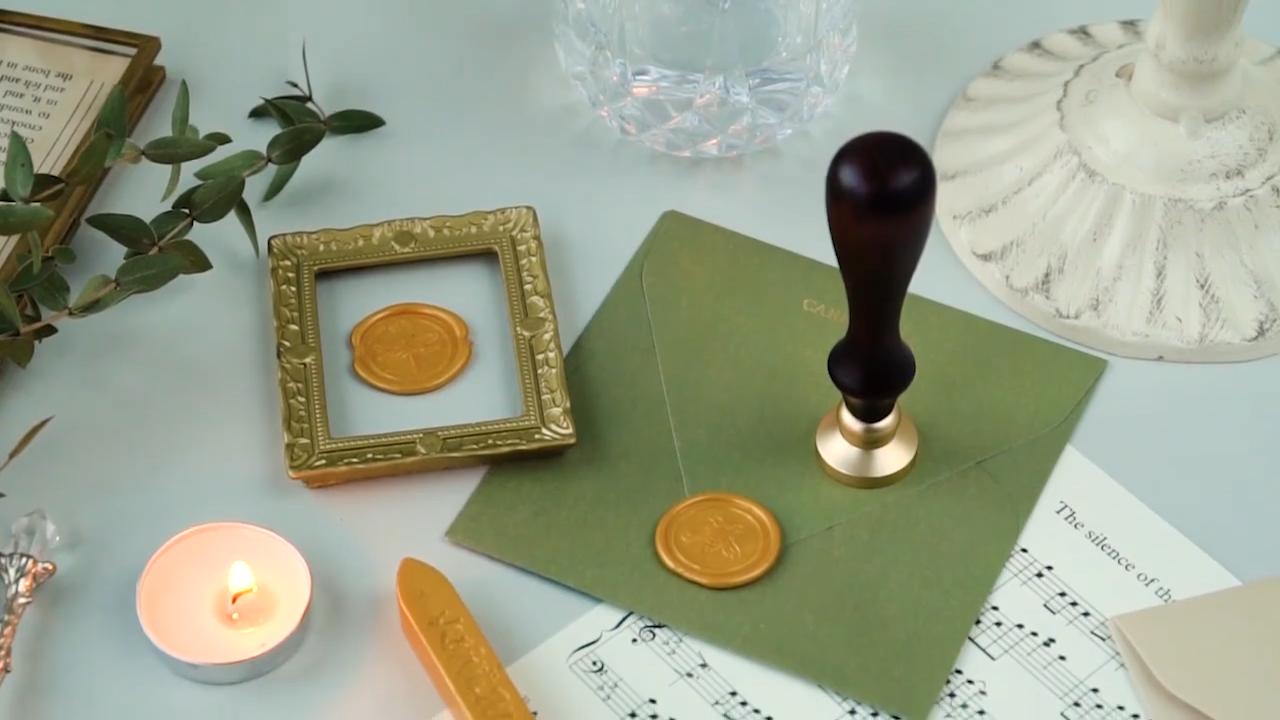 Envelope Wax Seal Sticks Stamp Wax Sticks For Stamp Gold Color Sealing Wax for Wine Bottle Flower