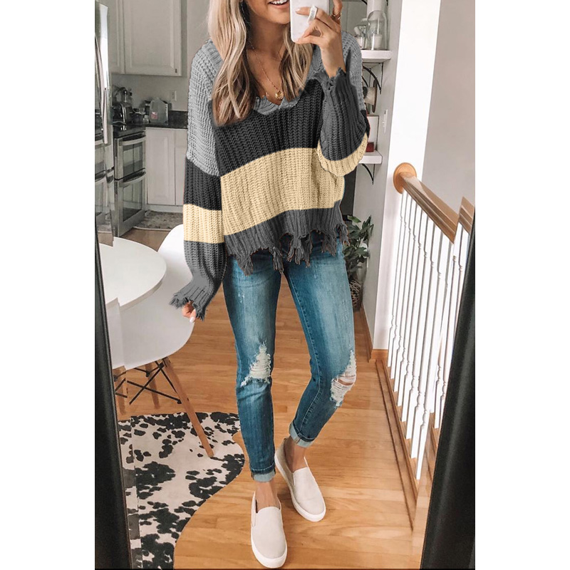 New Arrivals V Neck Long Sleeve Casual Loose Women Striped Sweater