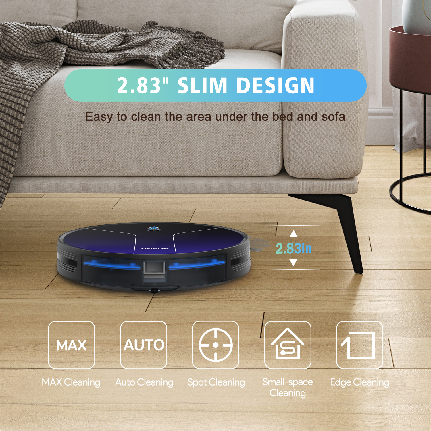 ONSON J20C 2020 WiFi Smart Cleaner 2100Pa Low Noise Robot Vacuum Works with Alexa