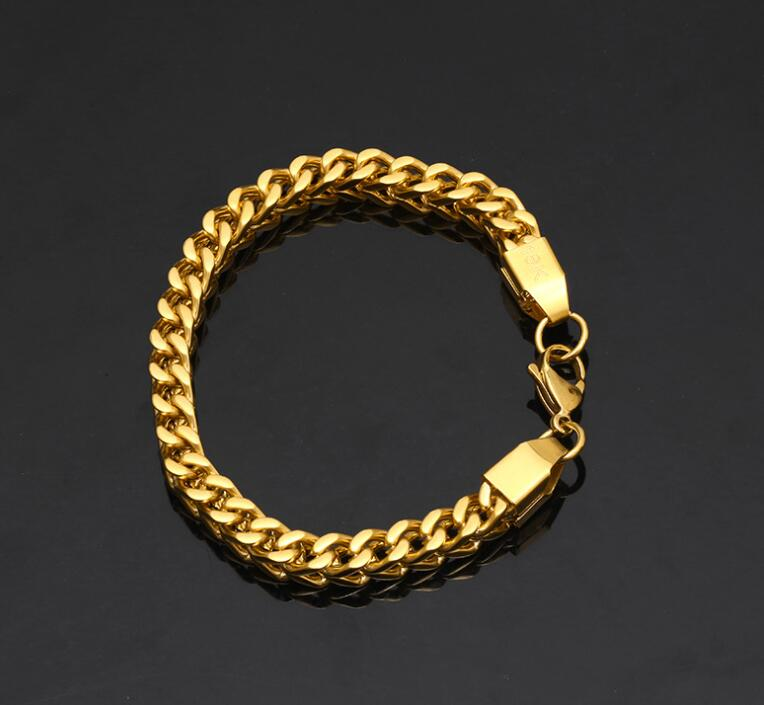 24K Gold Plated Stainless Steel Cuban Link Man Bracelet