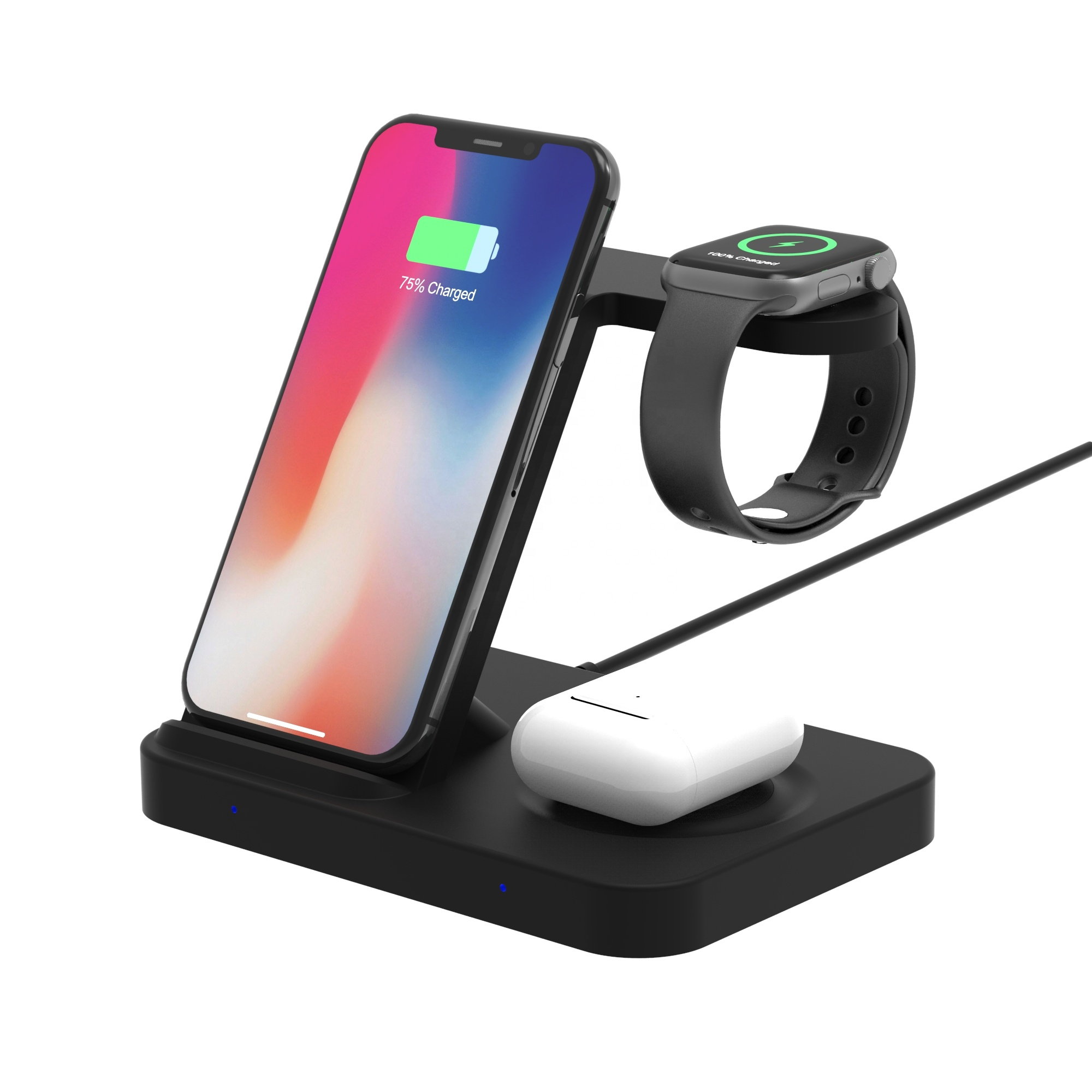 Fast Wireless Charging Station for iPhone 11 Pro/XS Max and AirPodss Pro/2 and iWatchs Series 5/4/3/2/1 and Galaxy Watchs/Buds