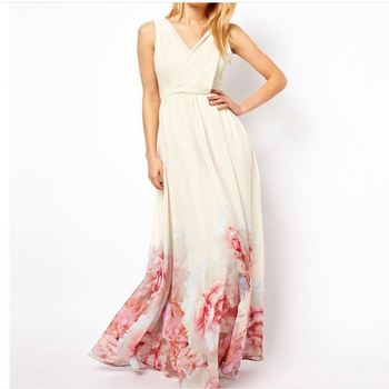 women sleeveless V-neck chiffon white floral printed long beach dress