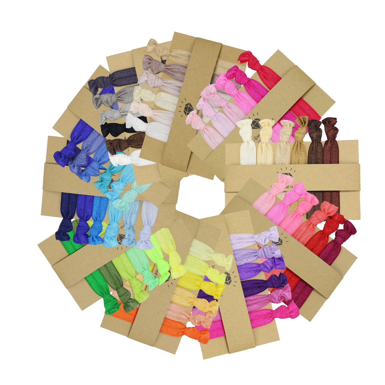 Stock Sale Hair Accessories Solid Colors Custom Logo Elastic Knot Hair Ties