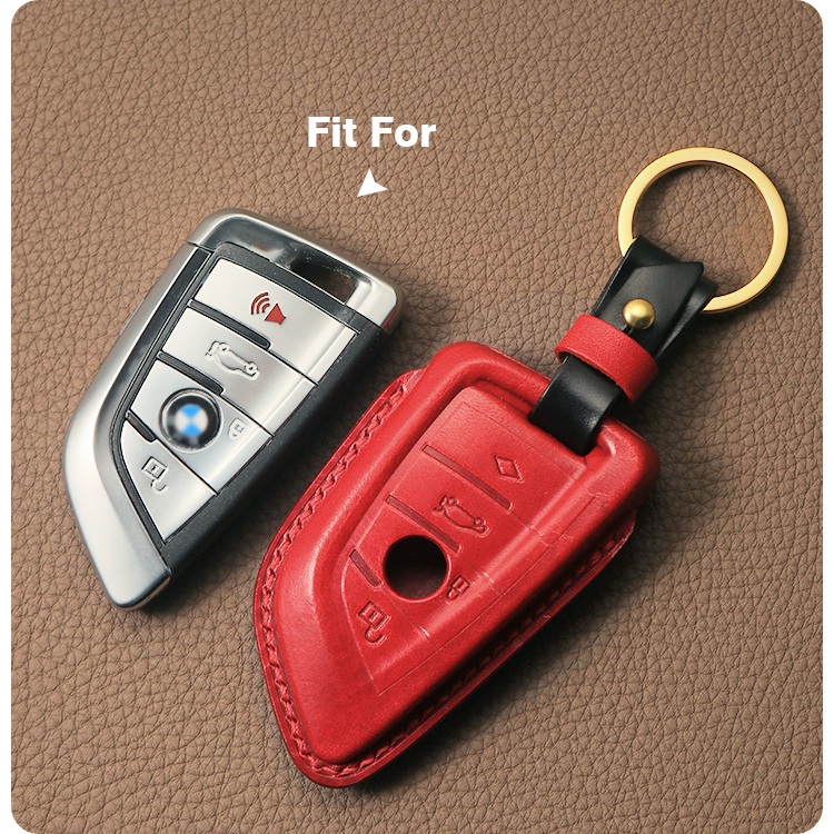 Custom Hand Sewing Full Grain Cowhide Genuine Leather Auto Smart Car Key Case Cover Key holder Key Wallet for BMW