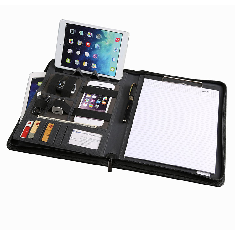 Wholesale Business Office Conference Document Organizer A4 Black Leather Portfolio File Folder with Power Bank