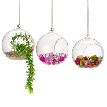 Air Plant Glass Terrarium Tea Light Cover Hanging 100mm Clear Glass Ball Candle Holders for Wedding Decoration