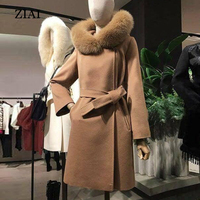 2020 Factory directly supply wholesale cashmere wool coat fox fur collar wool trench coat warm elegant women wool coat