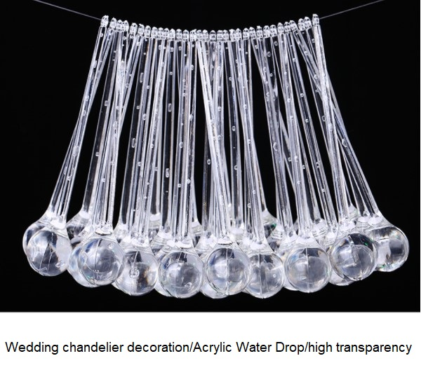 Clear Acrylic Water Drop Pendant Aerial Charm Ceiling Ornaments Wedding Props Wedding Ceiling Crystal Drops
