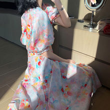 Платье для девочек-подростков, длинное платье в Корейском стиле с треугольным вырезом и коротким рукавом(Китай)