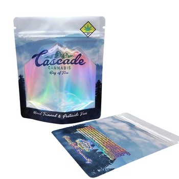 Cheapest food grade customized self standing up ziplock smell proof mylar holographic bag for edible packaging