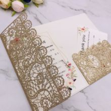 Laser Cut Rose Gold glitter papier Uitnodigingen card trifold Kaarten Groet Gift <span class=keywords><strong>Pocketfold</strong></span> nodigen cover voor wedding party