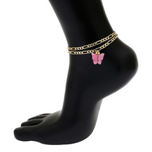 Женский браслет на ногу с двойной цепочкой, очаровательный фиолетовый акриловый браслет с подвесками бабочки в богемном стиле(Китай)