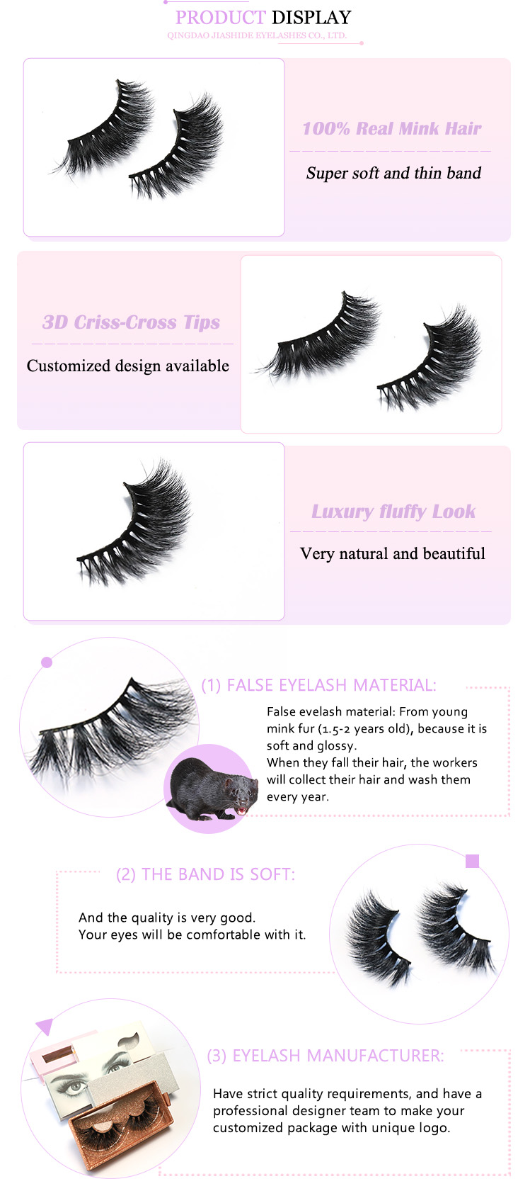 Wholesale Custom Packaging Private Label High Quality 100% Real Siberian Handmade 5d Mink Eyelashes