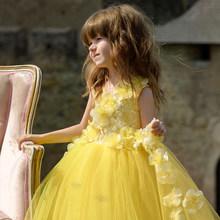 Пышное Платье с цветочным узором для девочек на свадьбу; Кружевное платье с аппликацией для первого причастия для девочек; Пышные платья с о...(Китай)
