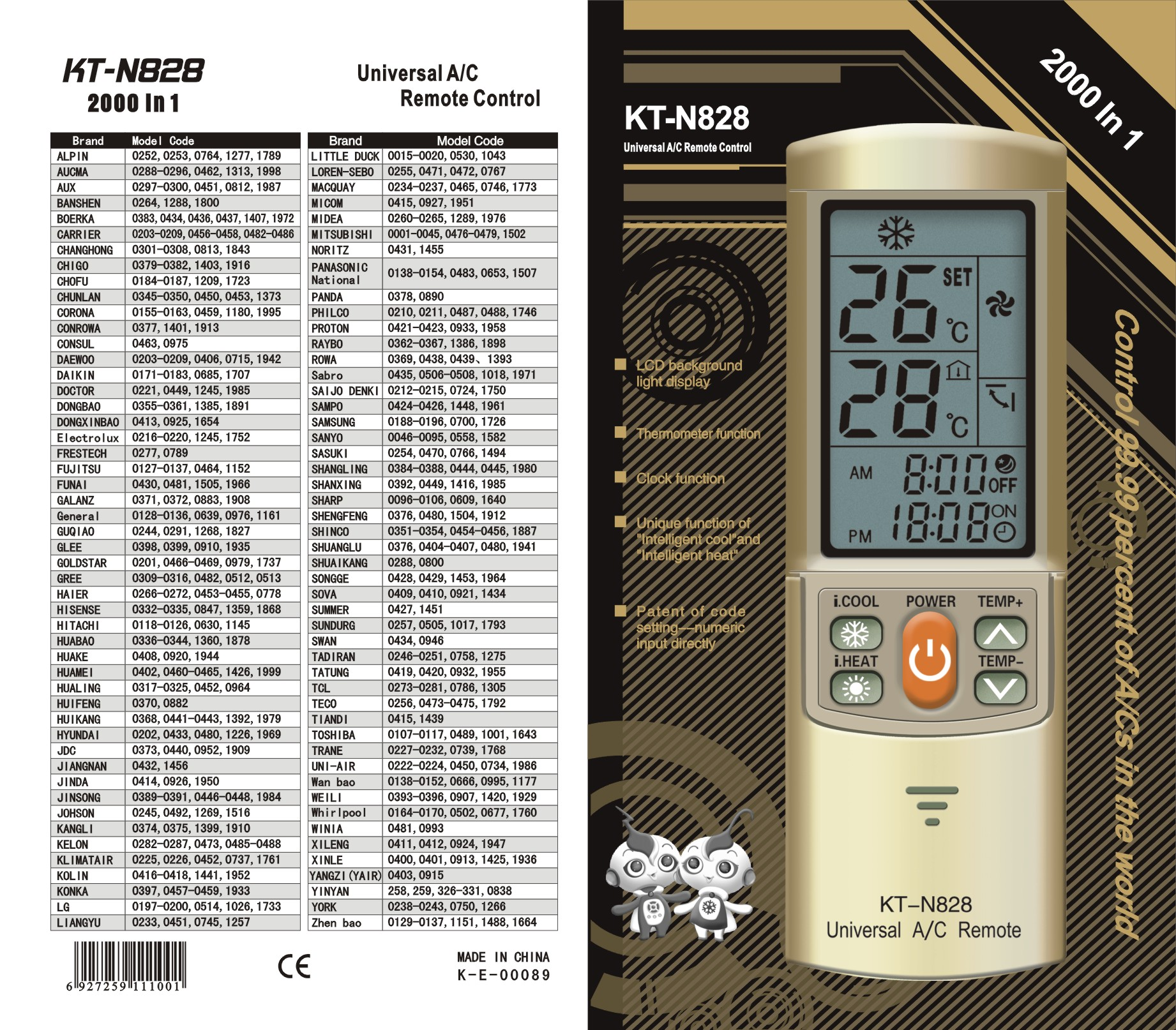 Air conditioner Remote control (KT-N828)