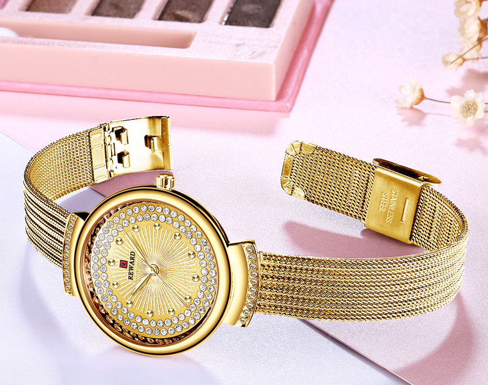 Top Brand Reward Fasion Ladies Diamond Quartz Gold  Watch Luxury  Ice Stone Watches Women