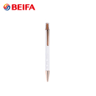 Custom Gift High Quality White Rose Gold Elegant Metal Ball Point Pen With Pen Promotional Clips