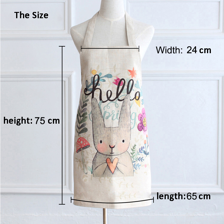 Popular recycled cheap washable printing cotton linen half apron of cooking