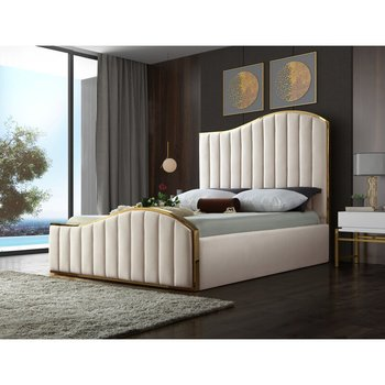 Luxury modern full queen king size stainless steel plywood bed frame