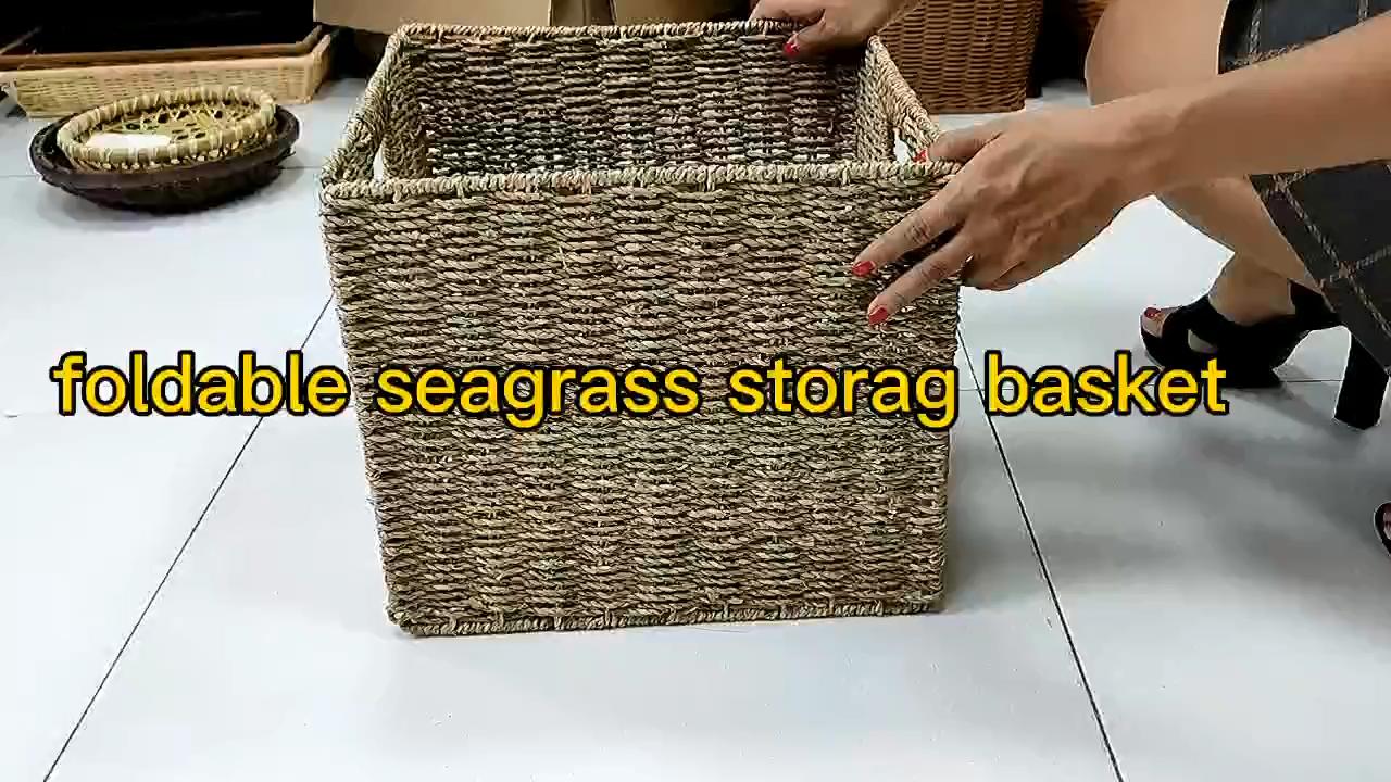 Venda quente folding dobrável barato mini pequeno decoração do vintage tecido lavanderia seagrass armazenamento cestas de palha de trigo