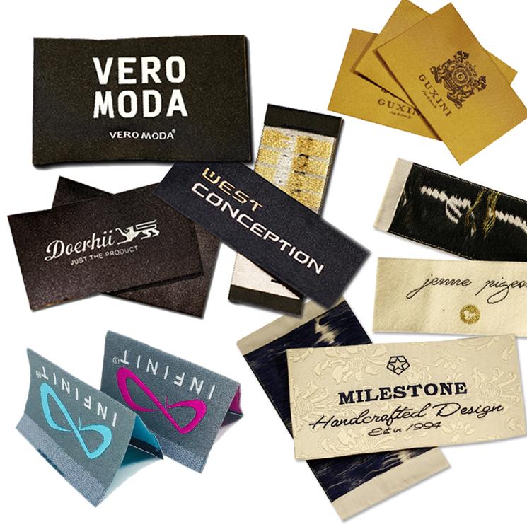 लेबल टैग निर्माता कस्टम ब्रांड नाम लोगो कपड़े लेबल