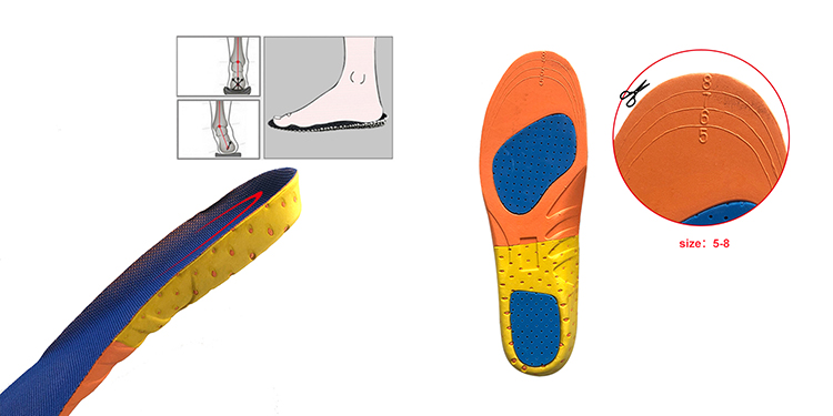 Sport Shock Absorption Comfort PU Flat Foot Arch Support Shoe Insoles