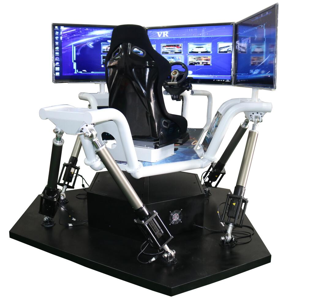 3 Screen Driving Car Games With Electric Dynamic Platform Motion System Racing Simulator For Entertainment
