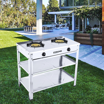 2 burner stainless steel gas cooker Storage stander gas stove in Thailand