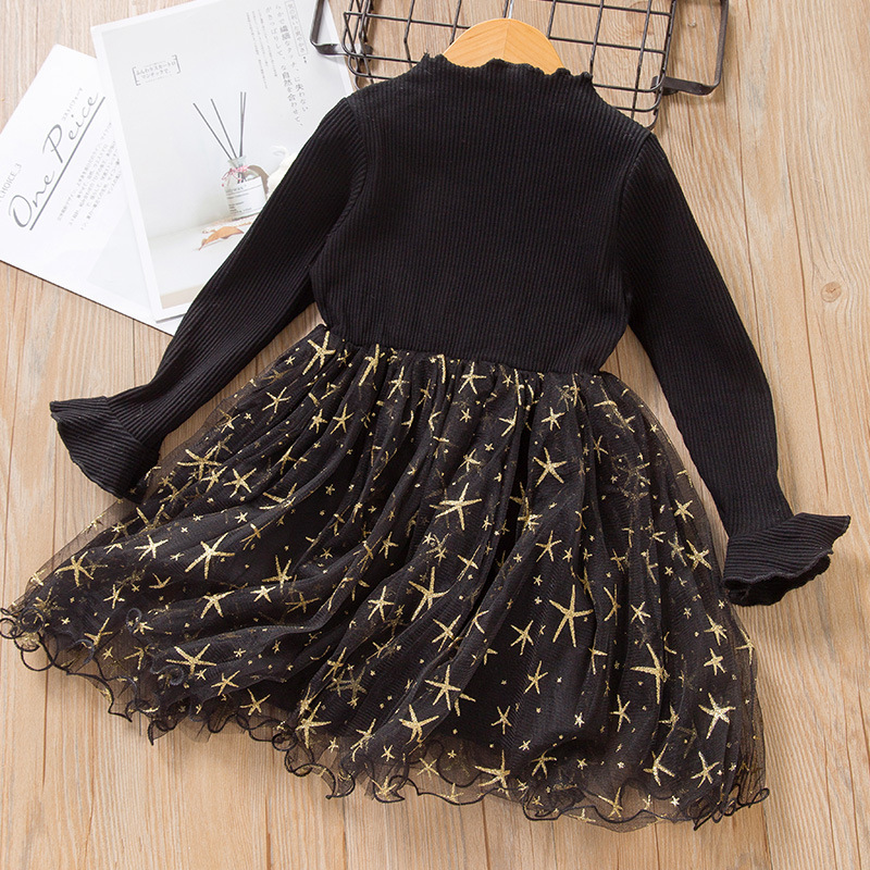 Hot selling children long sleeve dress for girl cotton kids patchwork clothing