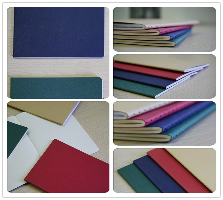 A5 Blank Paper Cover Sewing College Ruled Composition Notebook
