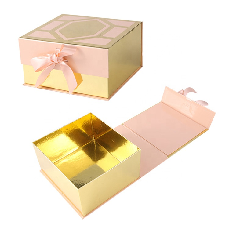 Wholesale magnet lid luxury custom logo paper packaging gift box with ribbon closure