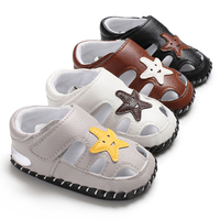 Wholesale cute star baby summer toddler PU first walker boys girl infant prewalker children leather sandals