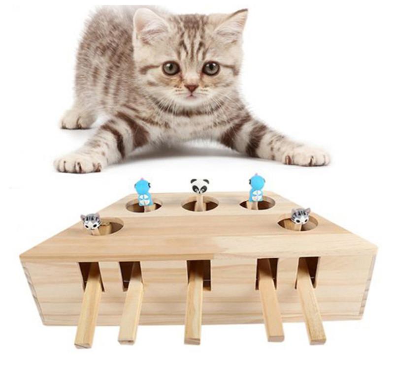 Grappige Kat Speelgoed Huisdier Indoor Massief Houten Kat Jacht Speelgoed Interactieve 3/5 Gaten Muis Seat Scratch Kitty Kat Spelen Speelgoed huisdier Producten