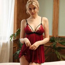 Летние сексуальные ночные рубашки, ночные рубашки для женщин, ночное белье, нижнее белье с v-образным вырезом, кружева, перекрещивающиеся ре...(Китай)