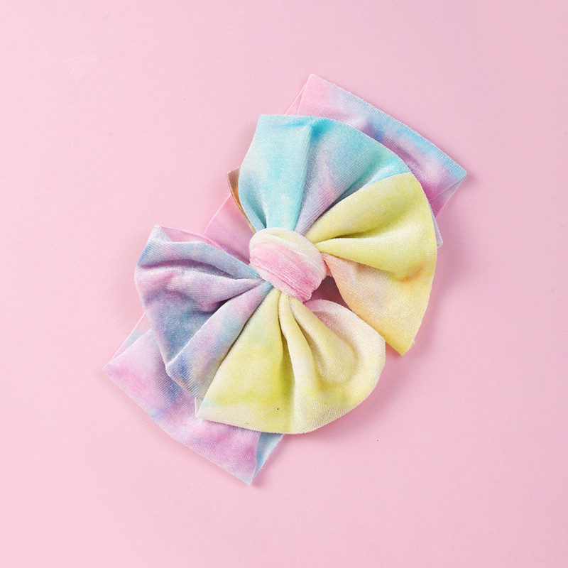 Winter soft velvet baby headband new design large bow tie-dye elastic kids headband sell hot