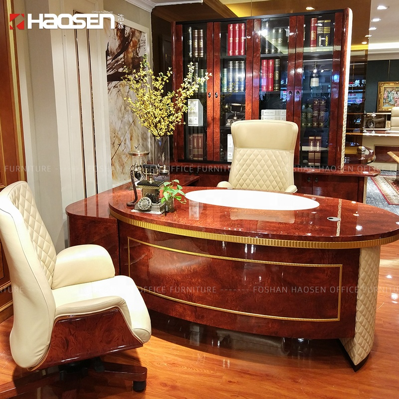 6881 rolos de Madeira reunião do escritório executivo mobiliário de escritório de couro de luxo