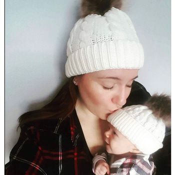 New Fashion Mommy and Me Winter Warm Hats Baby Crochet Knit Beanie Cap