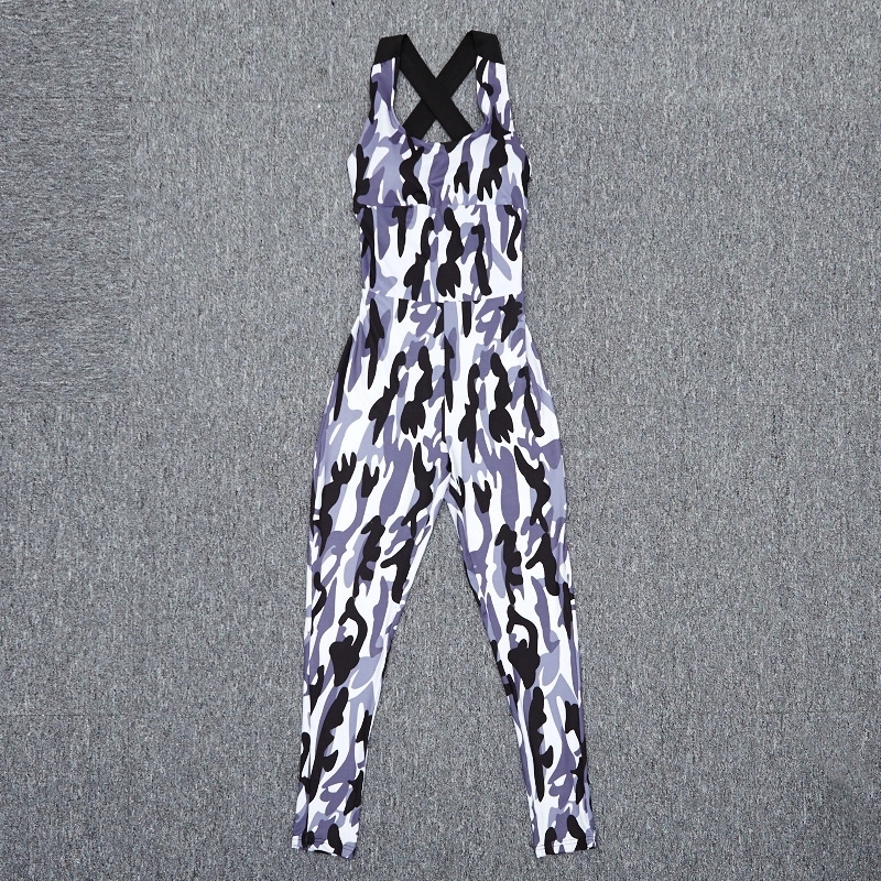 Women Sexy Hollow Out Sport Jumpsuit Camouflage Backless Bodysuit Fitness Yoga clothes