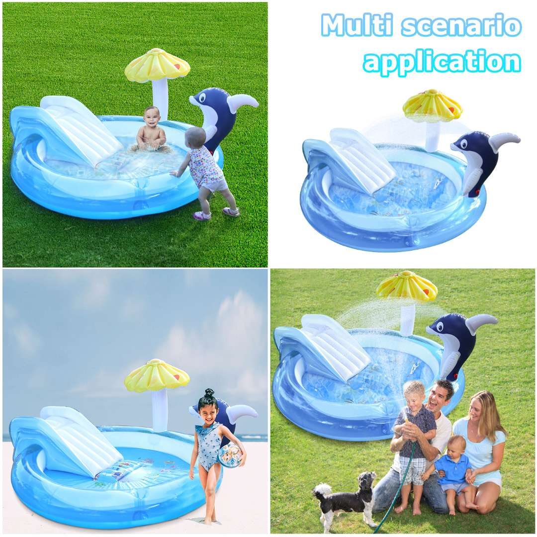 2020 New Inflatable Pool For Family Kids Baby Dolphin water slide swimming  Large Outdoor PVC Pool Baby Child Home Swimming Pool