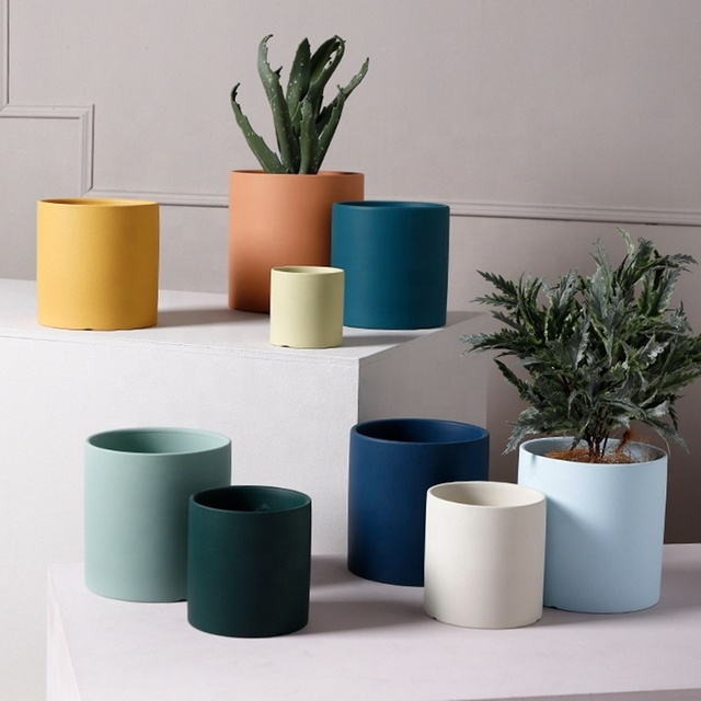 Home & Garden Hot Selling Colorful Ceramic Cylinder Flowerpot Flower Plant  Pot Planter White Black Pink Blue 3 4 5 6 7 8 Inch - Buy High Quality  Ceramic Flower Pot,Nordic Style,Cheap
