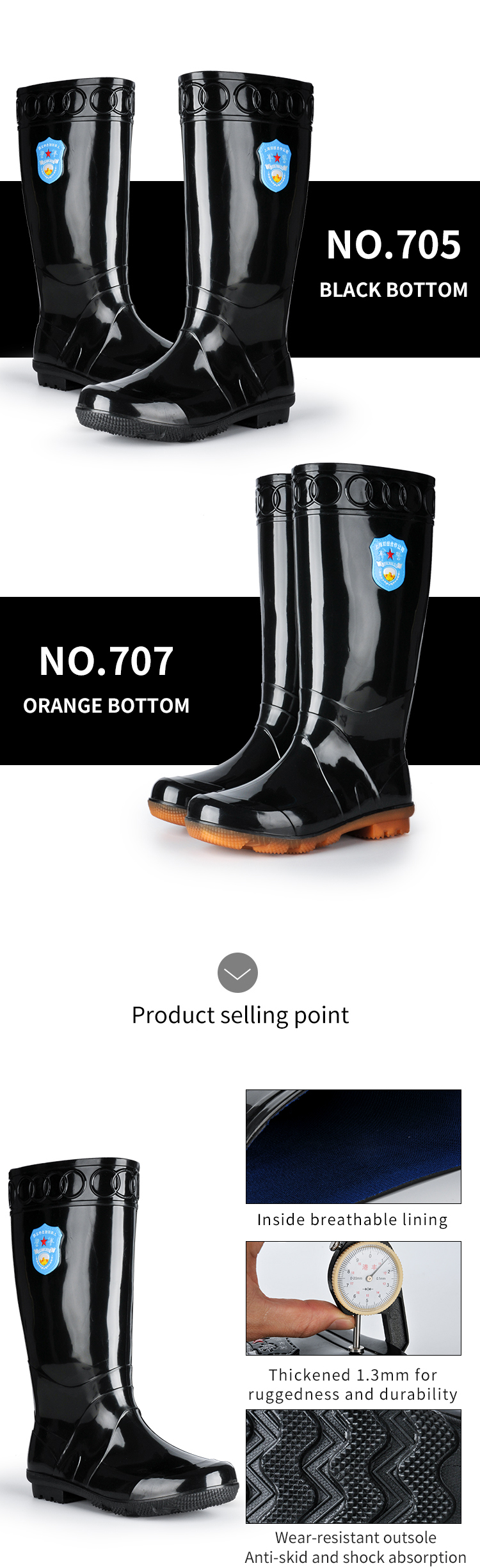 Cheap for Boys Thickened Pvc Waterproof Shoes Long Plastic Gum Men Tall Rain Boots Wholesale