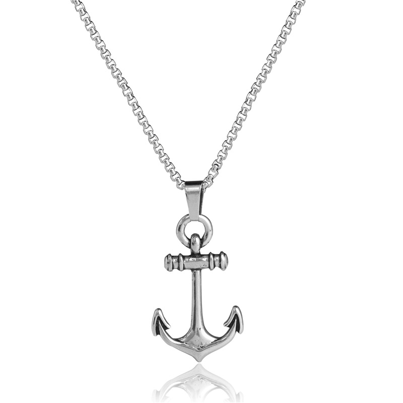 MMS004 Trade Assurance New Fashion Vintage Stainless Steel Anchor Charm Necklace Personality Viking Men Women Necklace