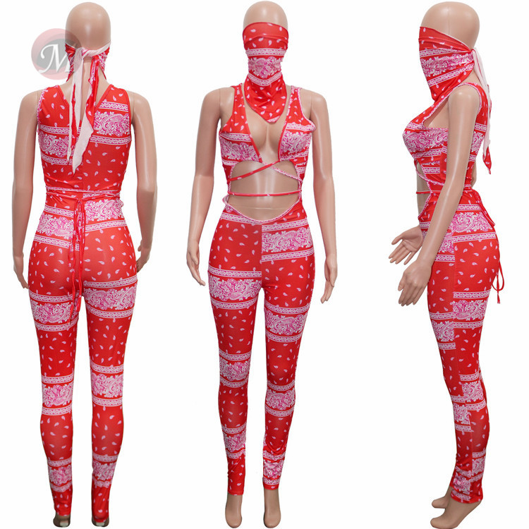 0070367 Wholesale Hollow Out Summer Tights Printed Sexy Women One Piece Jumpsuits And Rompers Bodycon Jump Suit