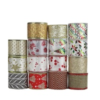 Assorted Christmas Decoration Gift Packing Burlap Glitter Tulle Wired Ribbon For Crafts